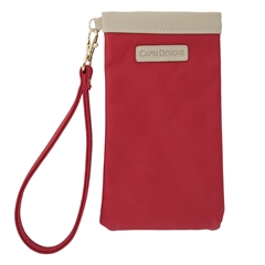 Eyeglass Carryall Case - Red with Tan and Gold Accents