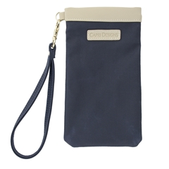 Eyeglass Carryall Case - Navy with Tan and Gold Accents