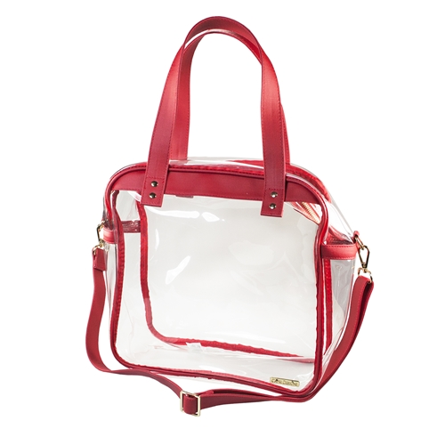Carryall Tote - Clear PVC with Red and Gold Accents