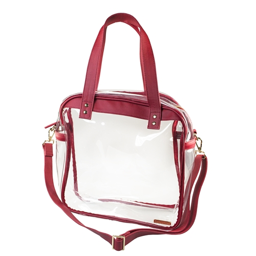 Carryall Tote - Clear PVC with Crimson and Gold Accents