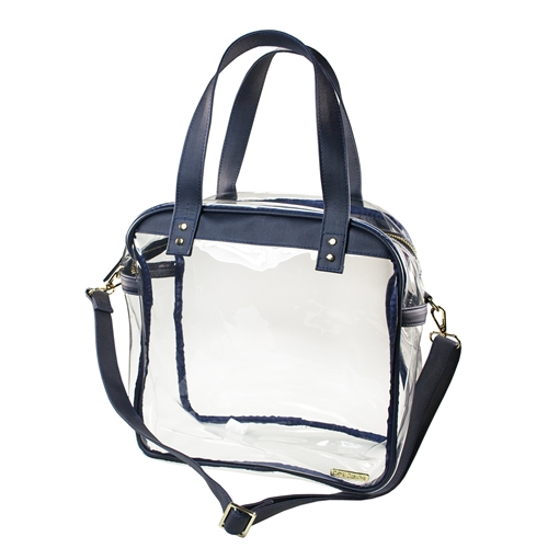 Carryall Tote - Clear PVC with Navy and Gold Accents