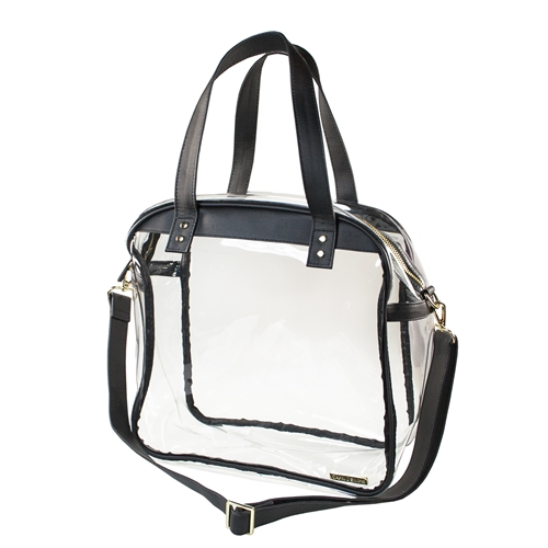Carryall Tote - Clear PVC with Black and Gold Accents