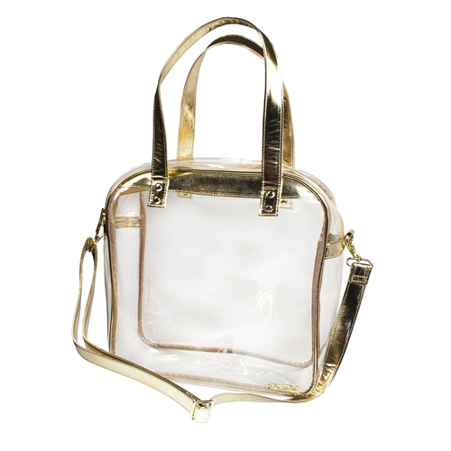 Carryall Tote - Clear PVC with Gold Accents
