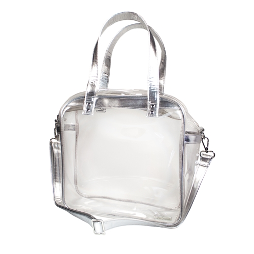 Carryall Tote - Clear PVC with Silver Accents
