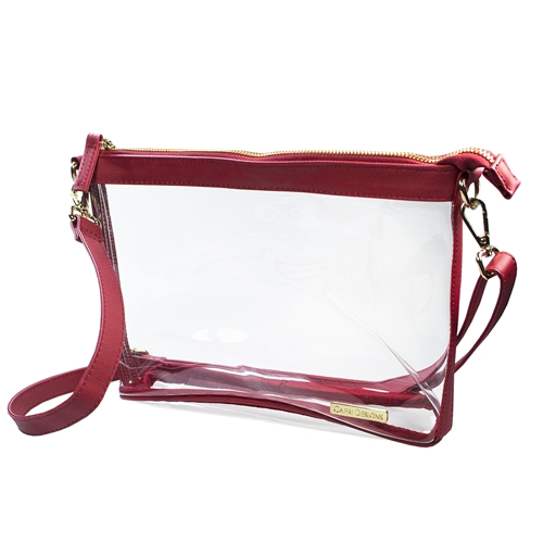 Large Crossbody - Clear PVC with Crimson and Gold Accents