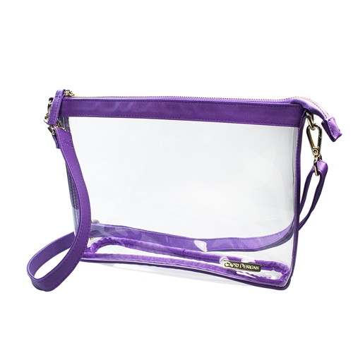 Large Crossbody - Clear PVC with Purple and Gold Accents