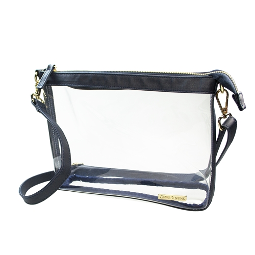 Large Crossbody - Clear PVC with Navy and Gold Accents