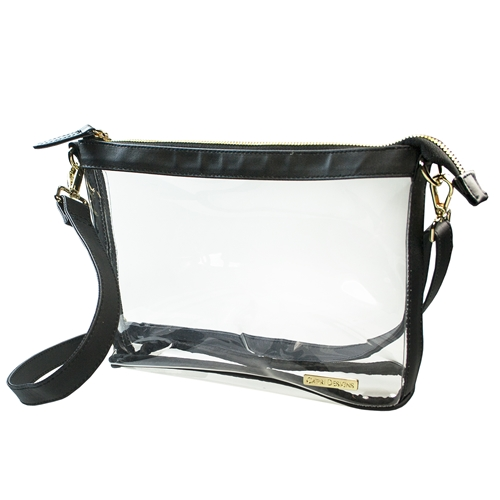 Large Crossbody - Clear PVC with Black and Gold Accents