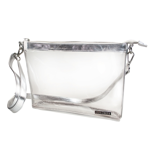 Large Crossbody - Clear PVC with Silver Accents