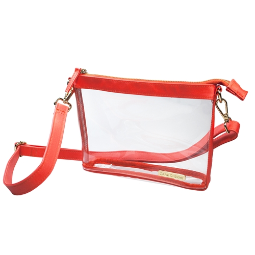 Small Crossbody - Clear PVC with Orange and Gold Accents