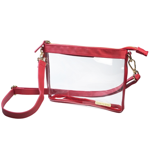 Small Crossbody - Clear PVC with Red and Gold Accents