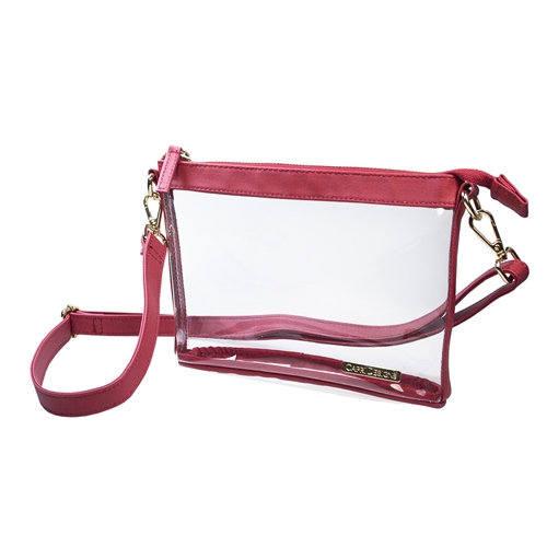 Small Crossbody - Clear PVC with Crimson and Gold Accents