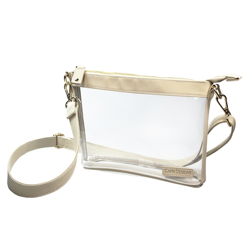 Small Crossbody - Clear PVC with Tan and Gold Accents