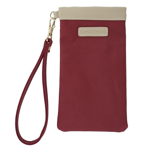 Eyeglass Carryall Case - Crimson with Tan and Gold Accents