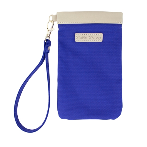 Eyeglass Carryall Case - Royal Blue with Tan and Gold Accents