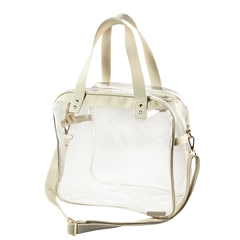 Carryall Tote - Clear PVC with Tan and Gold Accents