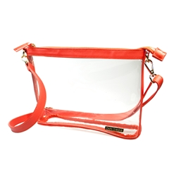 Large Crossbody - Clear PVC with Orange and Gold Accents