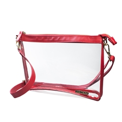 Large Crossbody - Clear PVC with Red and Gold Accents