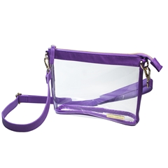 Small Crossbody - Clear PVC with Purple and Gold Accents
