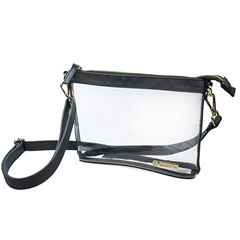 Small Crossbody - Clear PVC with Black and Gold Accents